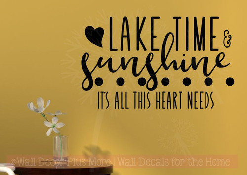 Lake Time Sunshine Girl Bedroom Decor Quote Vinyl Lettering Wall Decals-Black
