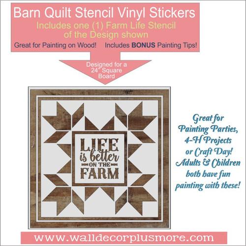 Barn Quilt Life Is Better On The Farm Stencil Wood Farmhouse Decor DIY