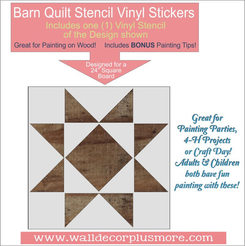 Barn Quilt Stencil Farmhouse Home Decor DIY Wood Art Project