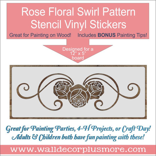 Rose Floral Swirl Pattern Stencil Vinyl Stickers Wall Art DIY Wood Decor