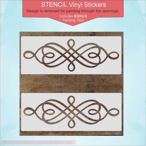 Swirl Pattern Stencil DIY Wood Home Decor DIY Vinyl Art Stickers, Set of 2