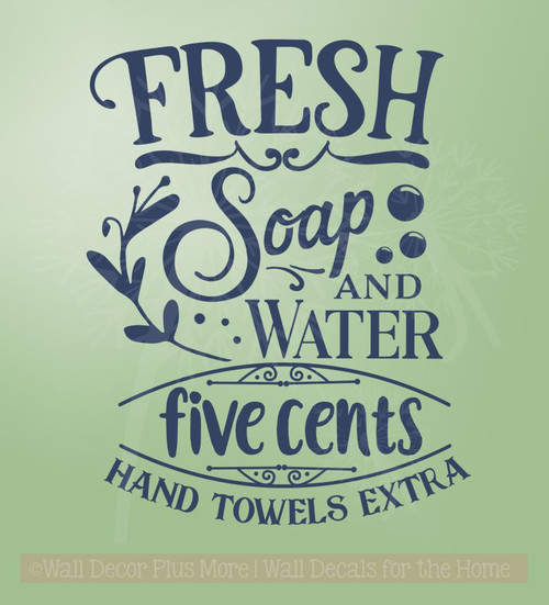 Soap Water 5 Cents Vinyl Letters Decals Wall Stickers for Home Decor-Deep Blue