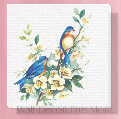 Blue Birds On Branch Canvas Wall Art Print for Vintage Home Décor