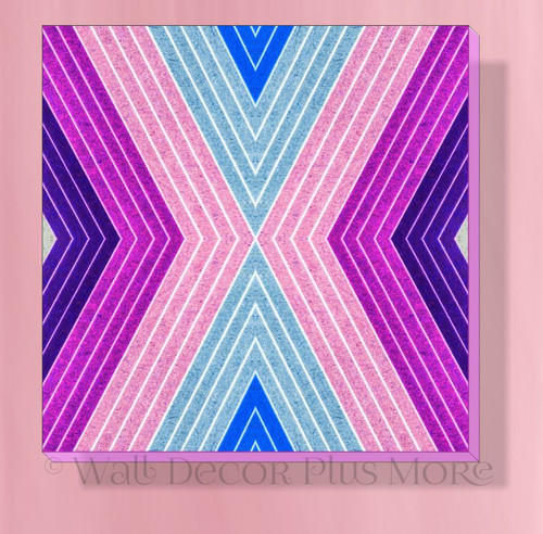 Colorful Geometric Lines Canvas Art Print Girls Bedroom Wall Decor