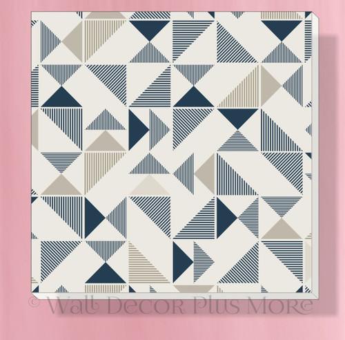 Geometric Triangles Canvas Prints Boys Bedroom Ready to Hang Decor