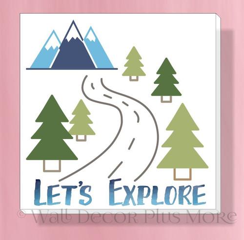 Let's Explore Camping Canvas Art Print RV Camper Lightweight Hanging Decor