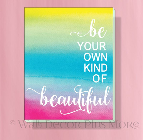 Be Beautiful 11x14 Motivational Canvas Print Girl Bedroom Wall Decor