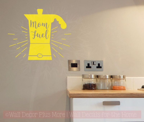 Mom Fuel Kitchen Quotes Wall Decor Vinyl Letters Coffee Decal Stickers-Yellow