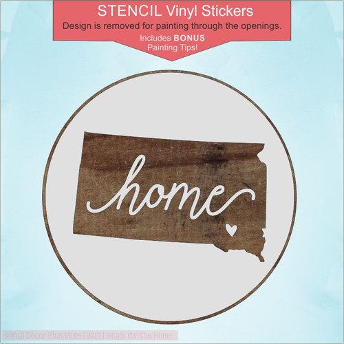 Home State 18in Round Stencil Stickers Decals for Painting on Wood