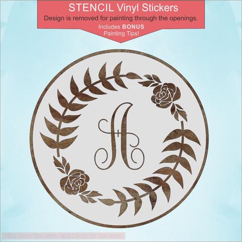 Monogram Letter, Laurel Wreath Stencil Stickers DIY for 18in Round Wood