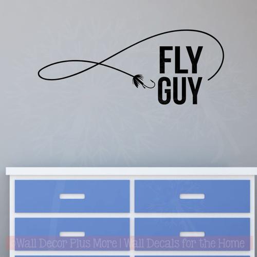 Fly Guy Fishing Wall Stickers Vinyl Art Decals Fisherman Boys Room Decor-Black