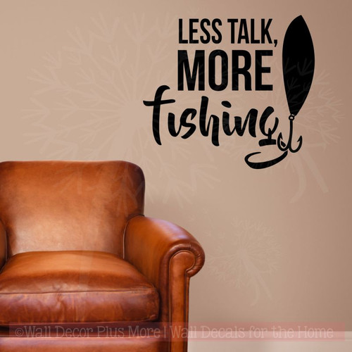Less Talk More Fishing Vinyl Letters Decals Fishing Wall Decor Stickers-Black