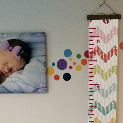 Wood Topped Chevron Height Ruler Printed On Canvas Growth Chart