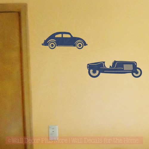 2 Vintage Cars Vinyl Art Decals Antique Farmhouse Decor Wall Stickers-Deep Blue