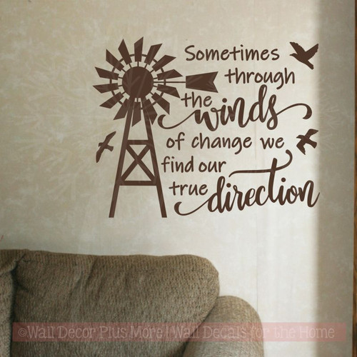 Winds True Direction Windmill Farmhouse Decor Wall Stickers Vinyl Quotes-Chocolate Brown