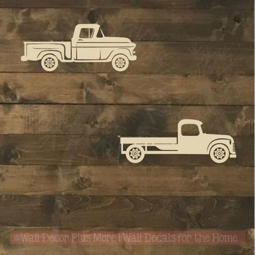 2 Old Trucks Wall Art Stickers Vinyl Decals Rustic Farmhouse Style Decor-Beige