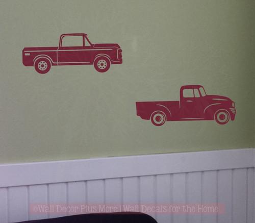 2 Antique Vintage Trucks Vinyl Art Stickers Old Pickup Wall Decals-Burgundy