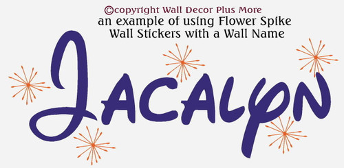 Jacalyn Wall Decal Name with Flower Spikes Decals purple and orange Walt Disney font