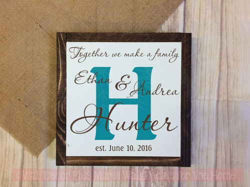 Wedding Couple Personalized Design with Background Letter, Wall Vinyl Decal with Names and Date-Chocolate, Teal