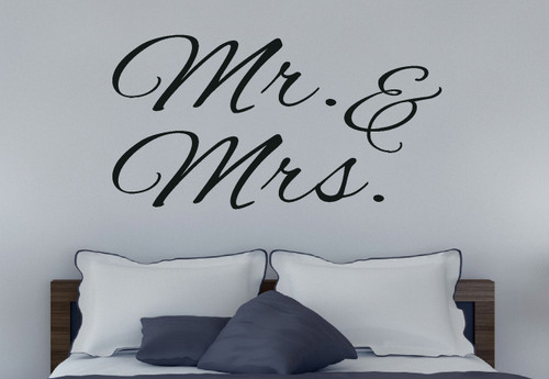 Mr. & Mrs. Bedroom Love Quote Wall Decal