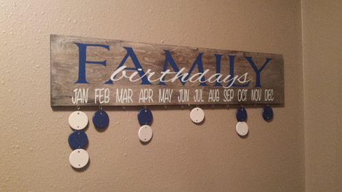 Family birthdays board with vinyl stickers diy project white deep blue