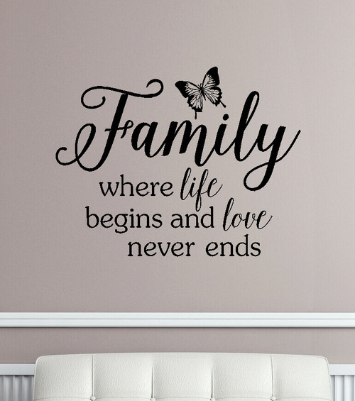 Family Wall Decals Quotes Vinyl Sticker Letters Sayings Home Decor-Black