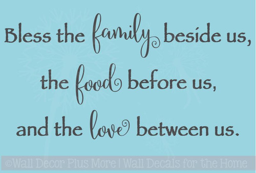 Bless Family, Food, and Love Wall Decal Quote