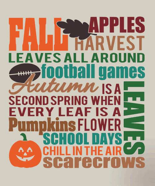 Fall Subway Art Vinyl Decal Seasonal Decor Sign
