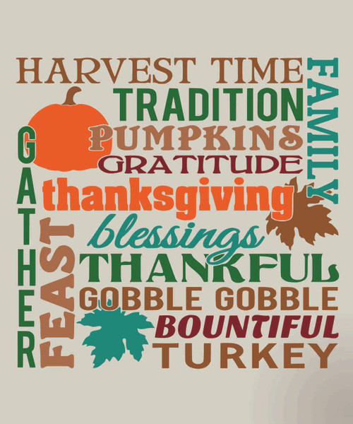 Harvest Time Thanksgiving Fall Vinyl Sticker Decal Lettering for the Home