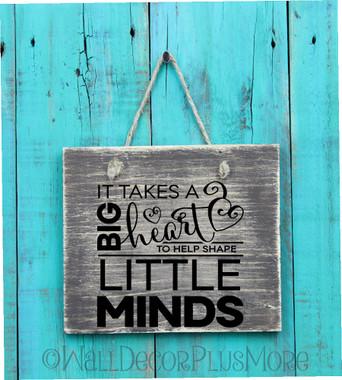 Big Heart Little Minds Teacher Wall Decal Quote
