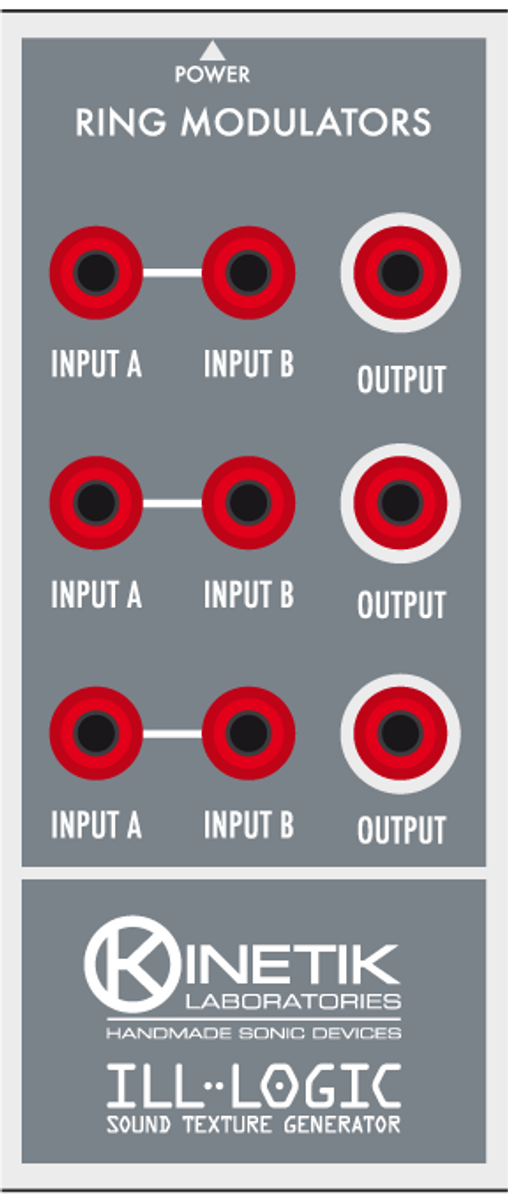 This section features three ring modulator stages, each with two inputs and one output. It can process signals from the oscillators and from the noise generator. The OUTPUT plug can be used to provide the gate signal for the oscillator INPUT plug when the oscillator is in gated mode.