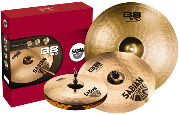 "Sabian B8Pro 3 Pack Box Set  with 14"" Hi-hats, 16"" Thin Crash and 20"" Medium Ride"