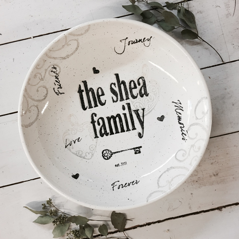 Hand painted, personalized Family Name Bowl