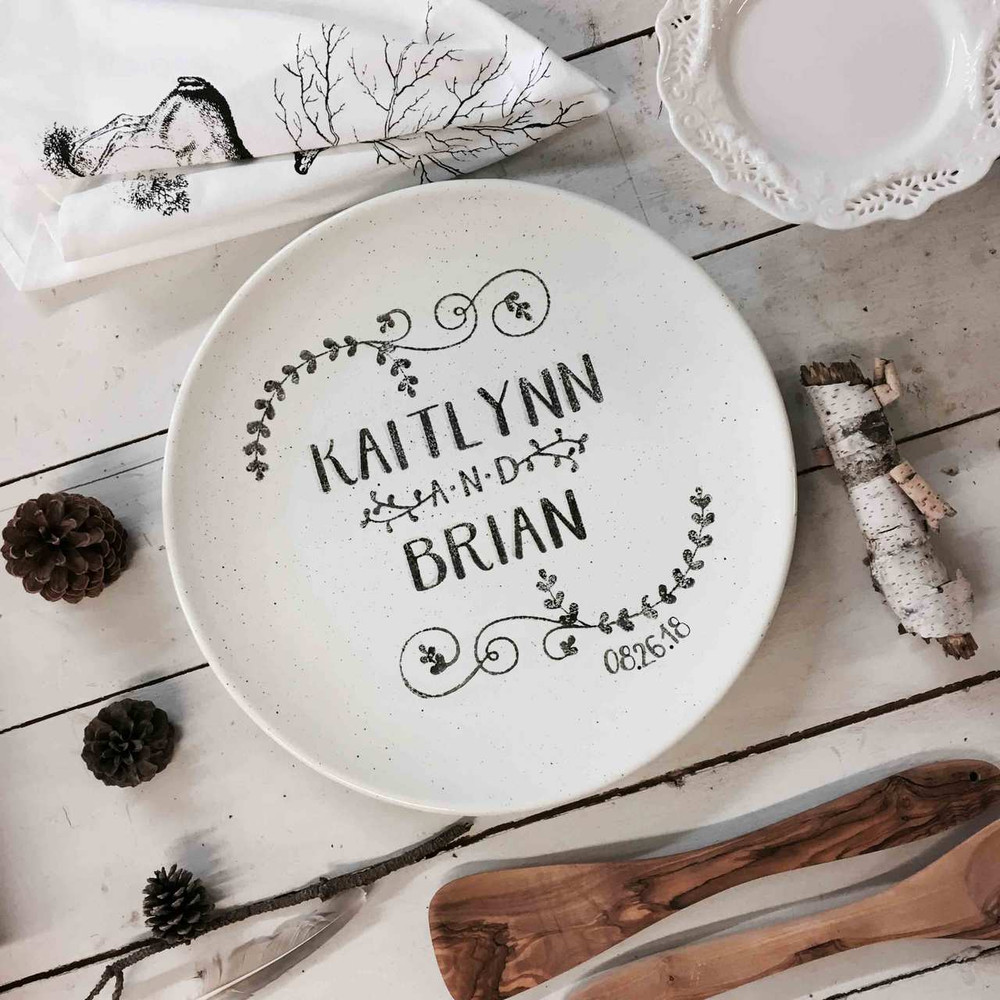 Personalized Wedding Platter personalized with couple's names and wedding date