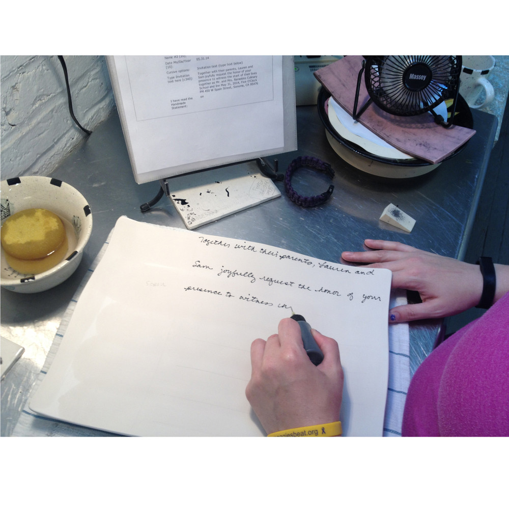 Your invitation text is hand written in our own natural cursive