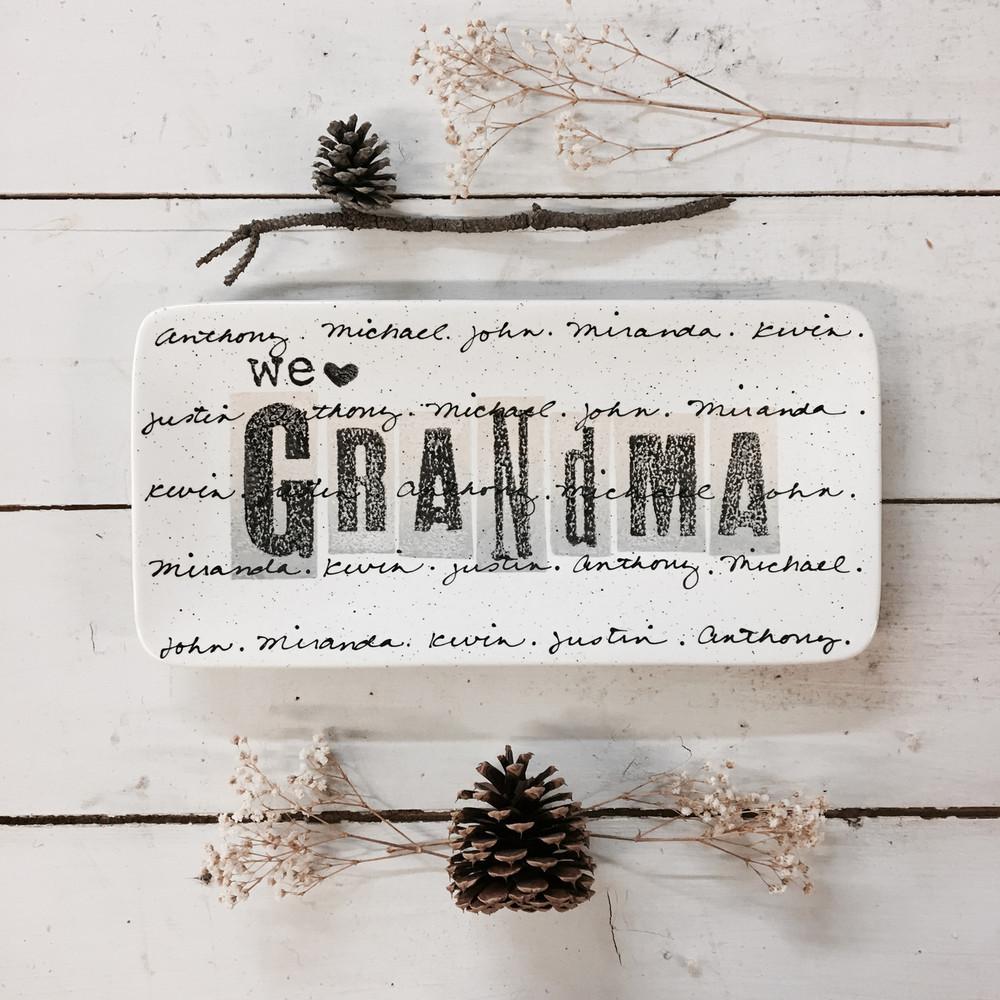 Cursive Grandparent Plate
