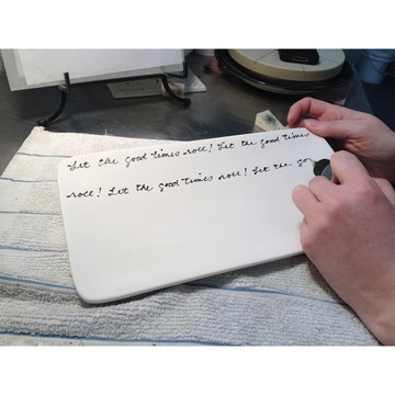 Your message or family names are hand written in our own natural cursive. Messages are partially repeated to fill the entire background