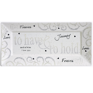Hand painted, personalized To Have & To Hold Wedding Gift Platter