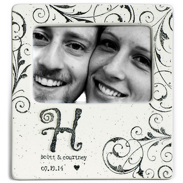 Hand painted, personalized Monogram Wedding Photo Frame