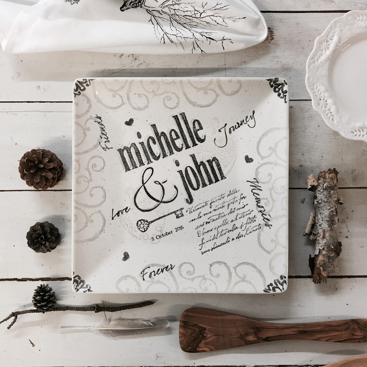 Hand Painted, Personalized Name Wedding Platter