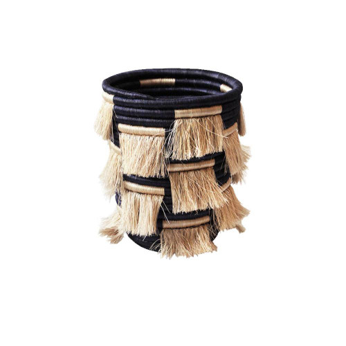 Beige Fringes Basket - Large