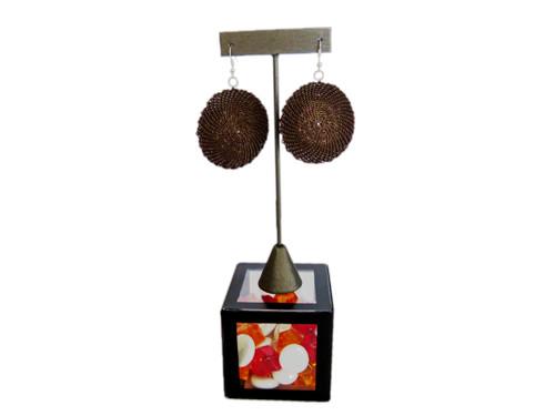 Telephone Wire Earrings - Brown