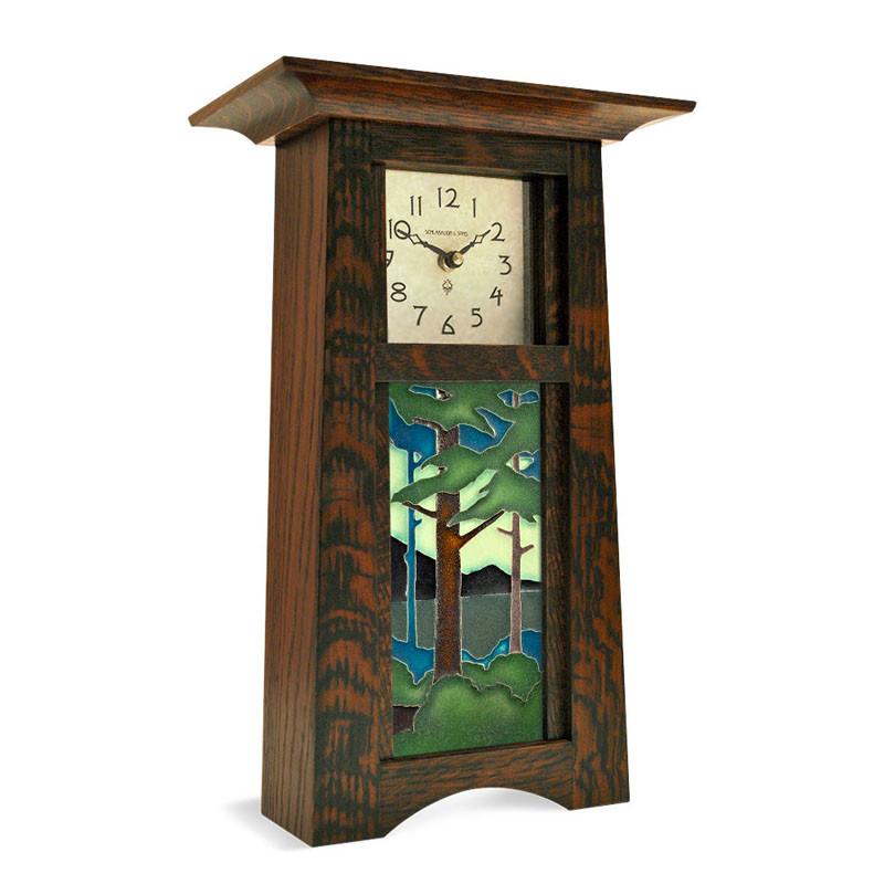 Arts & Crafts Pine Landscape Tile Mantel Clock