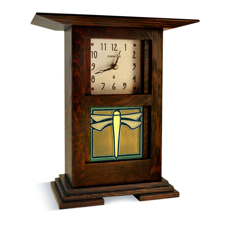 Arts & Crafts Dragonfly Green Tile Clock