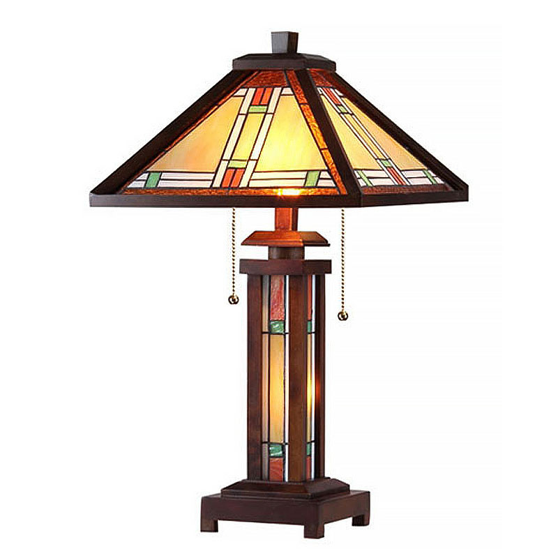 Aaron Arts & Crafts Double Lit Stained Glass Table Lamp