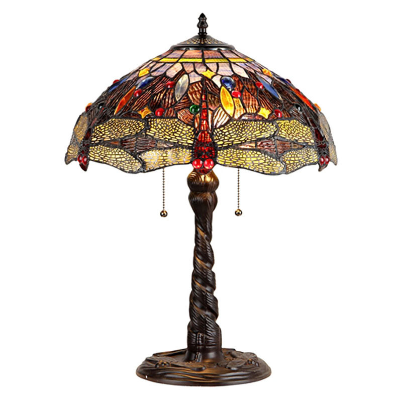 """""""Dragan"""" Dragonfly Arts and Crafts Double Light Table Lamp"""