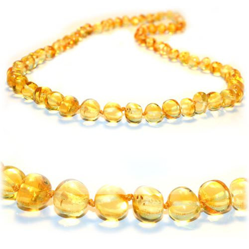 Amber teething necklace baroque lemon - 13 inches long
