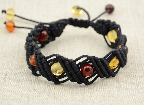 Hand knitted adjustable bracelet
