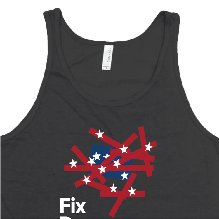 Fix Democracy First - Flag Design (Unisex Black Tank)