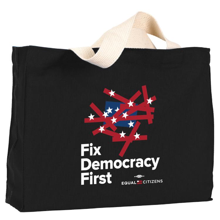 Fix Democracy First - Flag Design (Black Canvas Tote)
